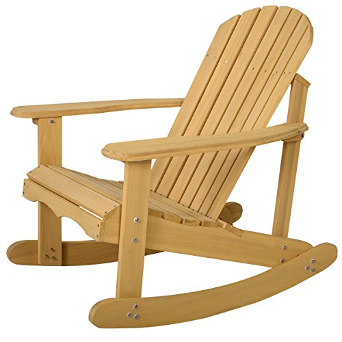 Giantex Adirondack Chair Outdoor Natural Fir Wood Rocking Chair Patio Deck Garden (Adirondack Deck Chair)