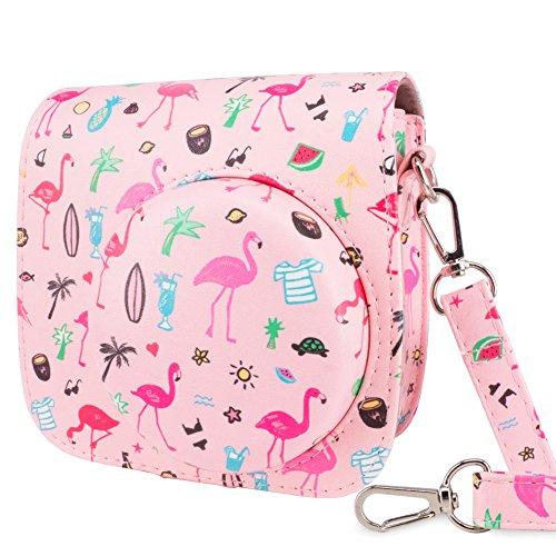 WOLVEN Protective Case Bag Purse Compatible with Fuji Instax Instant Mini 9 / Mini 8 / Mini 8+ Instant Camera, Pink Flamingo