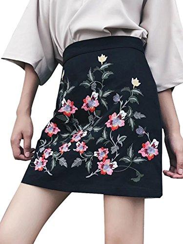 Simplee ropa bordada de la mujer bodycon mini falda lápiz corto de talle alto Negro