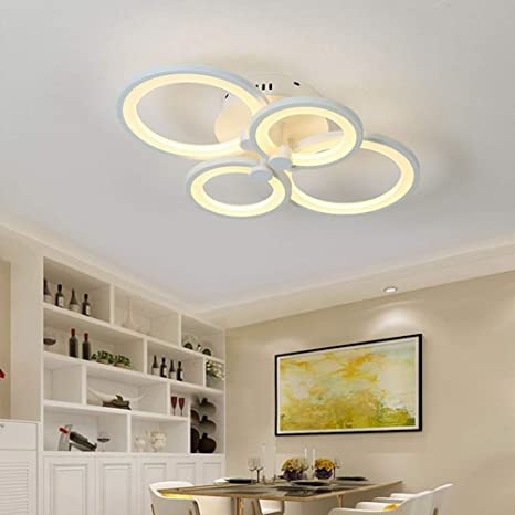Modern Ceiling Light Fixture Semi Flush Mount With Remote Control Dimmable Led Chandelier Lighting With 4 Ring For Living Room Dining Room Kitchen Amazon Com