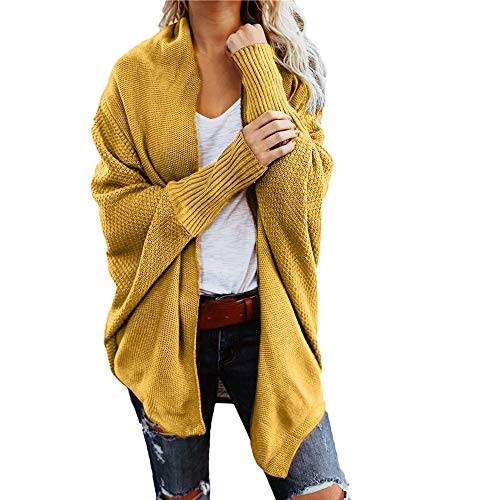Wobuoke Womens Autumn Winter Solid Sweater Casual Knitted Loose Long Sleeve Cardigan Sweaters -