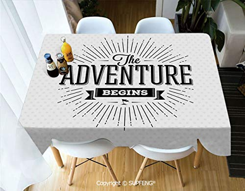 Picnic Tablecloth Retro Beginning of The Adventure Motivational Quote on White Backdrop Vintage Decorative (55 X 72 inch) Great for Buffet Table, Parties, Holiday Dinner, Wedding & More.Desktop Decor ()