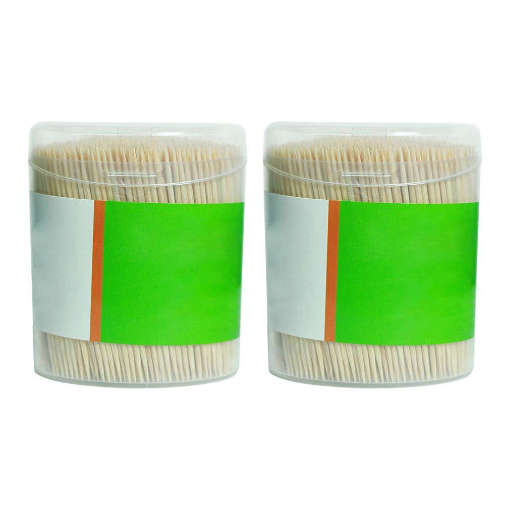 2 scatole di stuzzicadenti in legno di bamb/ù ristorante a doppia testa stuzzicadenti per casa NANAD 1000 pezzi Taglia libera Come mostrato