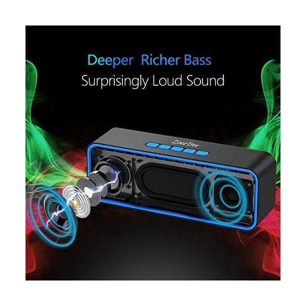 ZoeeTree S1 Haut-parleur Bluetooth sans fil, Extérieur, Enceinte stéréo avec Audio HD et Basses Amélioré, Intégré Double Pilote Haut-parleur, Bluetooth 4.2, Mains Libres Téléphone et TF - Blue 2