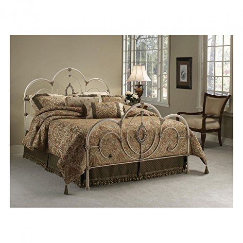 Hillsdale Furniture 1310BKR Victoria Bed Set with Rails, King, Antique White - Metal Oval Bed Set