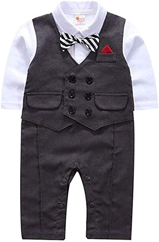 Infant Baby Boy Gentleman Christening Tuxedo Suit Romper Formal Dungarees Outfit