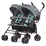 Dream On Me Volgo Twin Umbrella Stroller - Mint Dark Grey