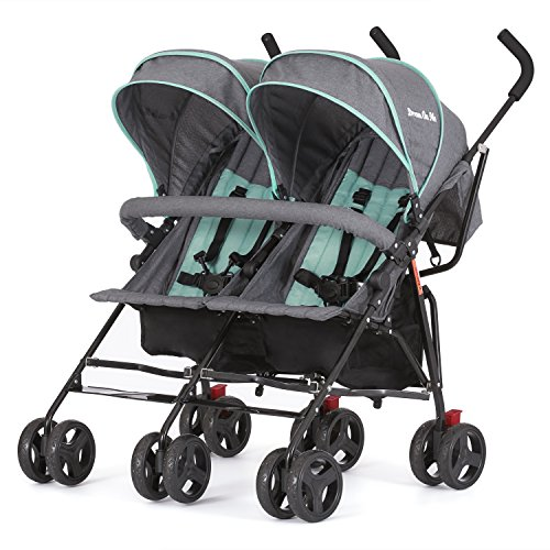 Dream On Me Volgo Twin Umbrella Stroller, Mint/Dark Grey