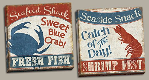 (Fresh Seafood | Nautical Retro Blue Crab and Red Lobster Set by Pel Studio; Coastal Décor; Two 16x16in Hand-Stretched)