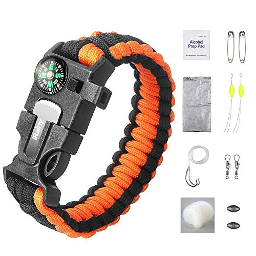 Outdoor Gear (iRainy Ultimate Paracord Bracelet Emergency Outdoor Survival Kit W 16 pcs Survival Gear includes Compass Flint Fire Starter Scraper Whistle 11 pcs Fishing Gear for Hiking)
