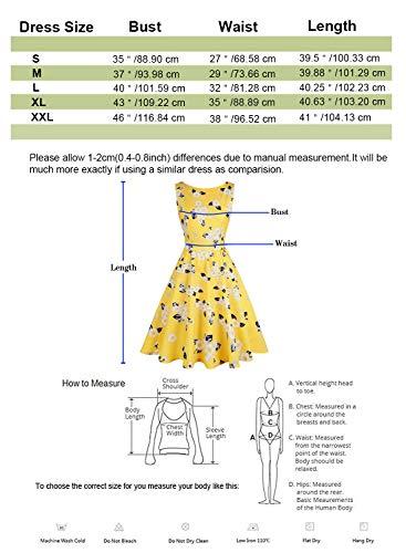 Cóctel Pin Hepburn Vestido Vestido Swing 1950s Blanco Mujer Rockabilly Up Amarillo De Vintage wqEIF0YAFx