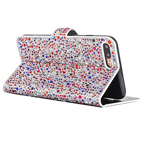 Mobile protection Para el iPhone 6 Plus y 6s Plus Gotas de lluvia patrón de caja de cuero horizontal Flip con ranuras de titular y tarjeta ( Color : Dark red ) Dark red