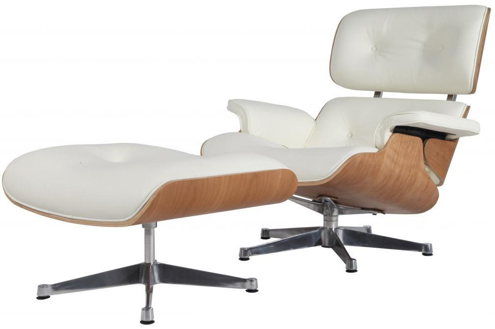 Modern Sources - Mid-Century Swivel Plywood Lounge Chair & Ottoman White Ash Palisander Real Premium Leather by Modern Sources