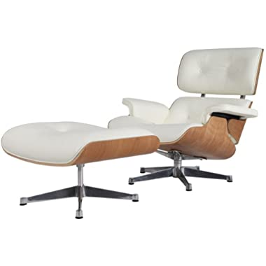 Modern Sources - Mid-Century Swivel Plywood Lounge Chair & Ottoman White Ash Palisander Real Premium Leather