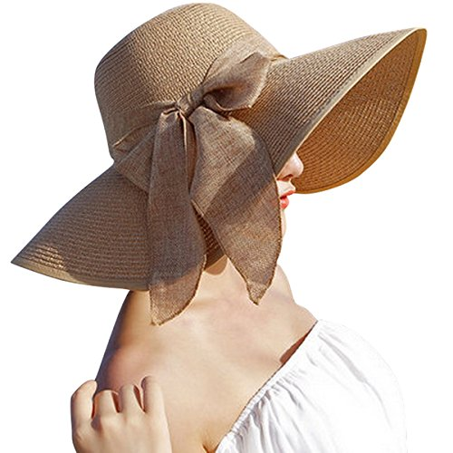 Lanzom Womens Big Bowknot Straw Hat Floppy Foldable Roll up Beach Cap Sun Hat UPF 50+ ()