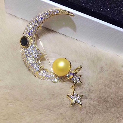 TKHNE Natural pearl corsage brooch pin badge colorful beauty moon and stars burst section 18k gold brooch pin badge craft