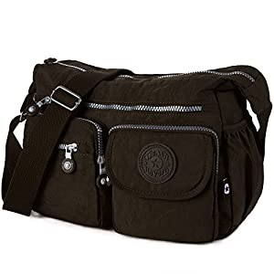 Crossbody Travel Bag Nylon Multi-pocket Shoulder Bag (938 Brown)