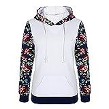 Challyhope Women Floral Print Long Sleeve Kangaroo Pocket Pullover Hooded Sweatshirt (XL, White)