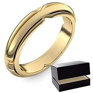 Oro anillo de matrimonio 750+ Incluye Luxus Funda + Libre de Porto EHE alianzas de Ring/Anillo Alianzas De Oro EHE Ring/Anillo sin piedras oro (Oro Amarillo 750)–Dilly Love Señor Anillo amoonic joyas ER86GG750