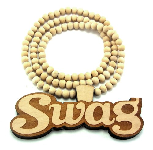 Large Wooden Swag Natural Good Quality Wood Pendant & Chain
