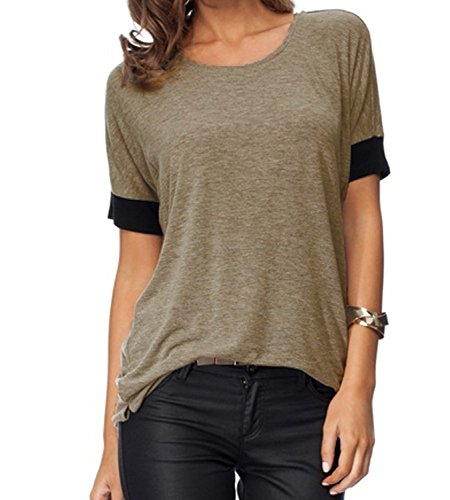 - Sarin Mathews Women's Casual Round Neck Loose Fit Short Sleeve T-Shirt Blouse Tops Coffee L