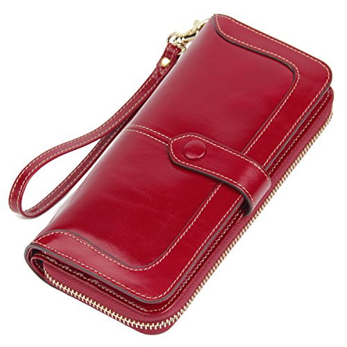 Anvesino Women's RFID Blocking Large Capacity Leather Clutch Wallet Zipper Purse Ladies Credit Card Holder Organizer(red)