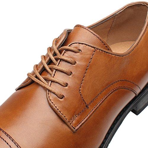 La Milano Mens Leather Updated Classic Cap Toe Oxfords Lace Dress Shoes