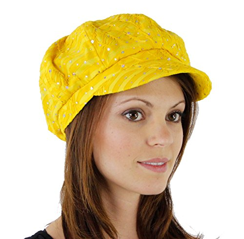 Glitter Sequin Trim Newsboy Style Relaxed Fit Cap, Yellow ()
