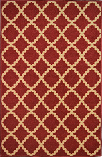 ADGO Modern Contemporary Living Dining Bedroom Rubber-Backed Non-Slip (Non-Skid) Area Rugs| Thin Indoor/Outdoor Floor Rug (4' x 6', AD10070 - Cherry Red Brown Beige)