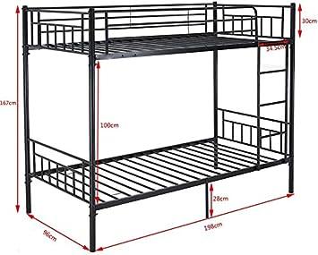 M/étal simple lit superpos/é 2 personne enfants de cadre de lit jumeaux meubles de chambre /à coucher,Black