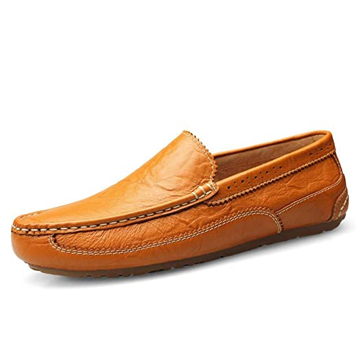 Amazon.com: Mens Leather Casual Shoes,Comfort Loafers Slip On Shoes,Fashionable Flat Driving Shoes,Lazy Shoes Soft Light Soles, Outdoor Travel Shoes: ...