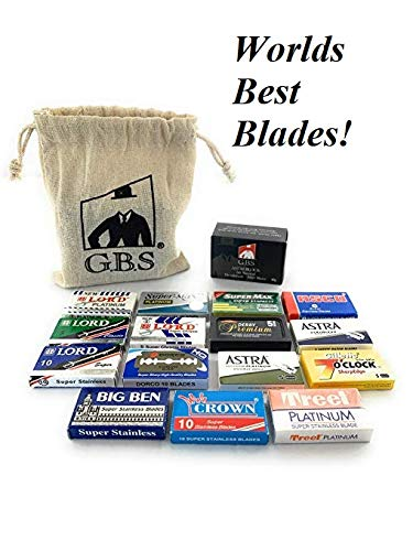 GBS Double Edge Safety Blade Variety Pack - Includes 100 Blades + GBS Potassium Alum Stone 80G All Natural - Soothing Aftershave Facial Toner to Close Pores Helps Sooth Nicks and Cuts ()