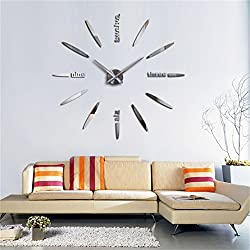 3D Wall Clock DIY Large Sticker Modern Frameless Home Decor Silver Mirror For Bedroom Living Room Office Kitchen Bar Bullet Clock Plate