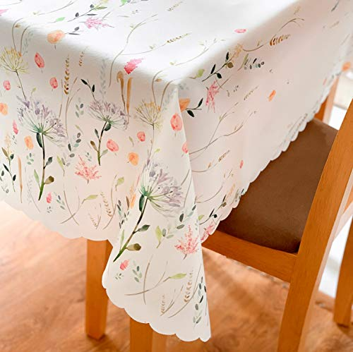 (Non-iron Stain Resistant Table Cloth – Fashionable Table Cover Perfect for Home or Restaurants - 4 Colours Different Shapes Table Protection - Dining room (ECRU Easter tablecloth Rectangle)