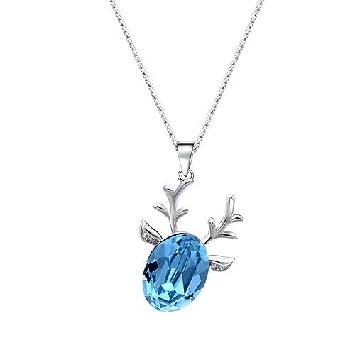 QIN-necklace Collar de Cadena de Clavícula de Plata de Ley Serie Bosque Story Lucky Deer Colgante Personalidad Refrescante Accesorios 40 cm + 5 cm: ...