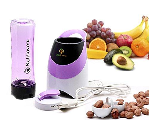 NUTRILOVERS Smoothie-Maker mit Trink-Flasche to GO (BPA-frei) - Mini-Stand-Mixer   Edelstahl-Messer, bis zu 23.000U/min, 0,4PS Motor (300 Watt) - lila