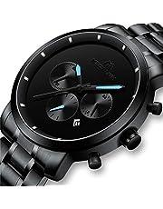 Relojes Negro Hombre Reloj de Pulsera Militar Deportivo Impermeable Grandes Cronógrafo de Acero Inoxidable Reloj para Hombres Moda Analógico Negocios Día Fecha