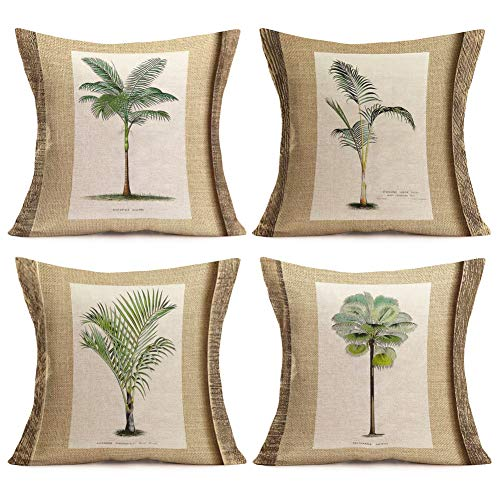 Aremazing Summer Tropical Throw Pillow Covers 18''x18'' Set of 4 Coconut Palm Tree Green Leaf Cotton Linen Decorative Couch Cushion Cover Throw Pillow Case Home Sofa Bedding Decorative (Pillow Coconut)