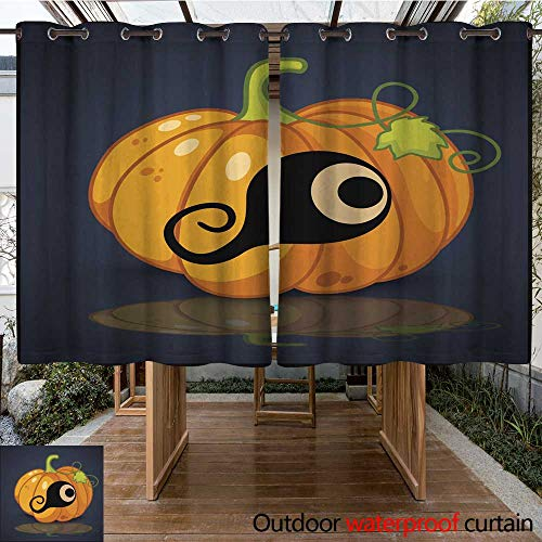 RenteriaDecor Outdoor Curtain for Patio Eye Banner and Background for Pumpkins Halloween W96 x L72 ()