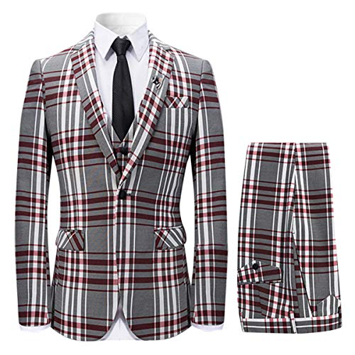 Mens 3 Piece Plaid Suit Slim Fit Christmas Party Dress,Red,Medium