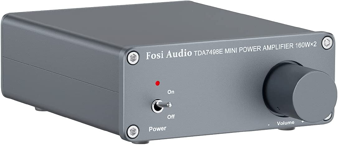 Fosi Audio TDA7498E 2 Channel Power Amplifier 160W x 2 Mini Stereo Audio Hi-Fi Class D Digital Audio Integrated Amp for Home Passive Speakers with 24V Power Supply