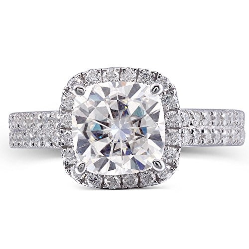 Center 2 Carat H Round 3.2MM Width Moissanite Engagement Ring Solitare with Accents 925 Silver for Women (5) by TransGems