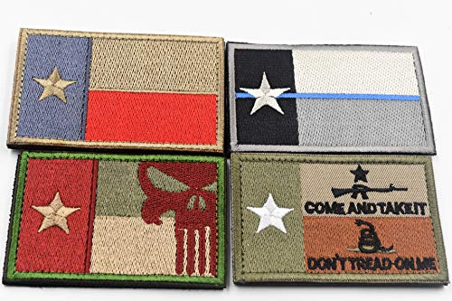 Rebel Mettle Tactical Cap/Hat Accessory - Embroidered Hook & Loop Texas Morale Patches (w/Punisher Insignia and Don't Tread on Me) - (4-Pack)