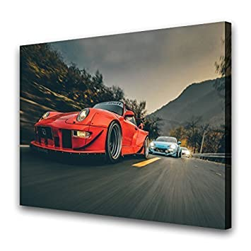 HQ Art RWB Porsche 911 Turbo Car Print Paintings Canvas Wall Art Picture Home Office Decor