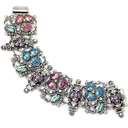 Sweet Romance Enamel Pansy Flower Retro Bracelet
