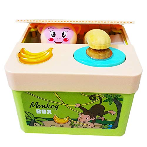 (PERFECTTOY Automated Piggy Bank for Kids Banana Yellow Monkey Stealing Coin Children Money Saving Box Storage Lovely)