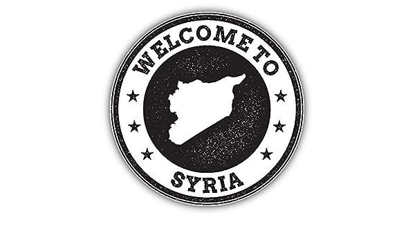 Syria Map Grunge Welcome Stamp Car Bumper Sticker Decal 5/'/' x 5/'/'