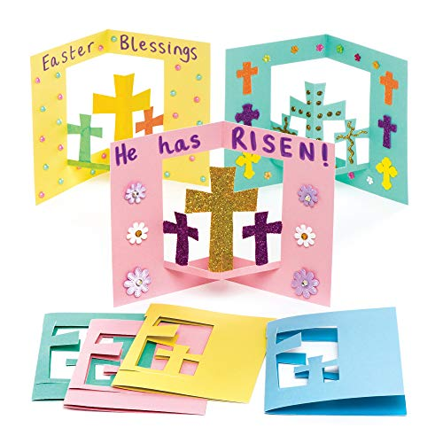 Baker Ross Cross Pop-Out Cards (Pack of 8) Easter Crafts for Kids to Decorate and Gift