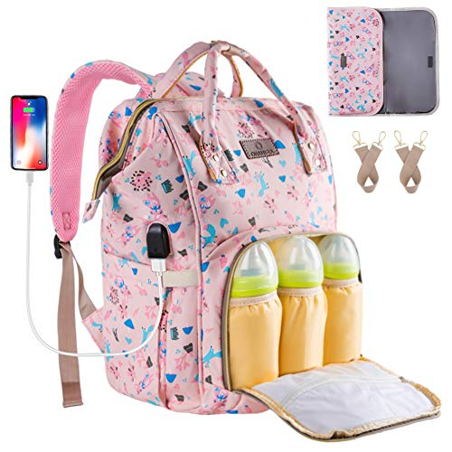 Diaper Backpack Waterproof Baby Nappy Bags Mom Insulated Bottle Pockets ORANIFUL Multi-functional Large Travel Back Pack Built-in USB Charging Port with Changing Pads and Stroller Straps (Pink)