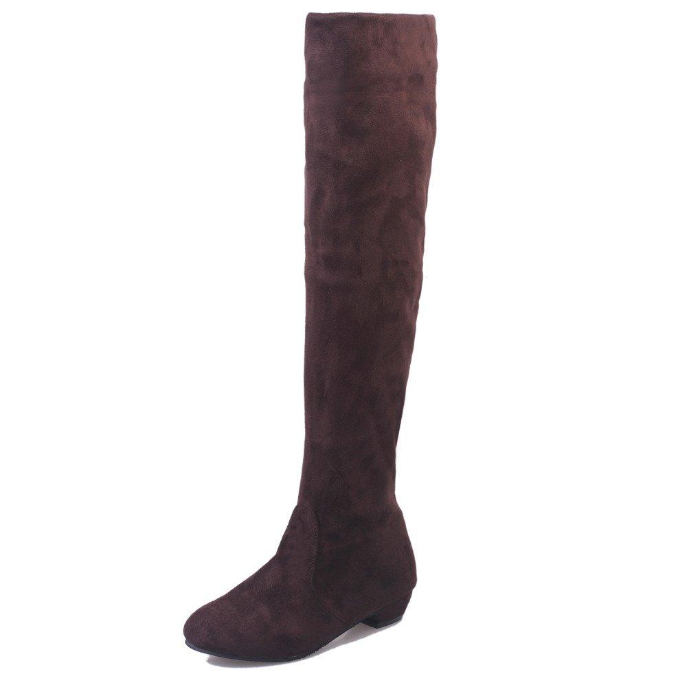 VonVonCo Femme Hiver Chaussures Chaud Bottes Loisir Longues en Daim à Jambe Plate Mode VonVonCo2018080004